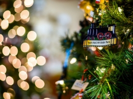 A Hawks Nest State Park ornament hangs on a Christmas tree.