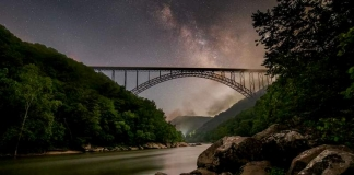 The New River Gorge Bridge arches across the New River Gorge near Fayetteville, West Virginia.