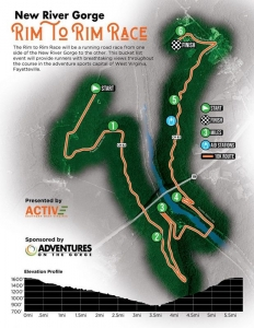 The New River Gorge Rim-to-Rim Race will follow a 10 kilometer route through the New River Gorge.