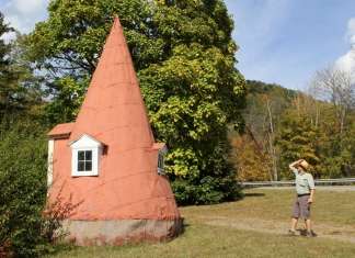 Dave Sibray surveys the curious cone on Elk Mountain, a roadside attraction along U.S. 219 in Pocahontas County.