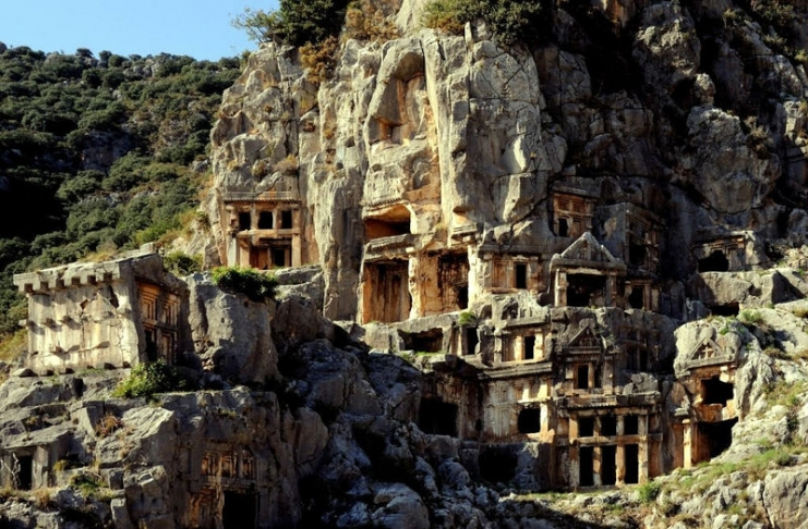 The rock tombs at Myra, Turkey, climb into the hills that overlook the Mediterranean Sea.