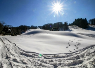 Snow lays thick on the slopes at Canaan Valley Resort near Davis, West Virginia.