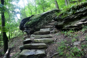 Built in about 1810, a stone staircase leads between the upper and lower towns at Harpers Ferry.
