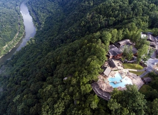 The Adventures on the Gorge resort overlooks the New River, 800 feet below in the New River Gorge.