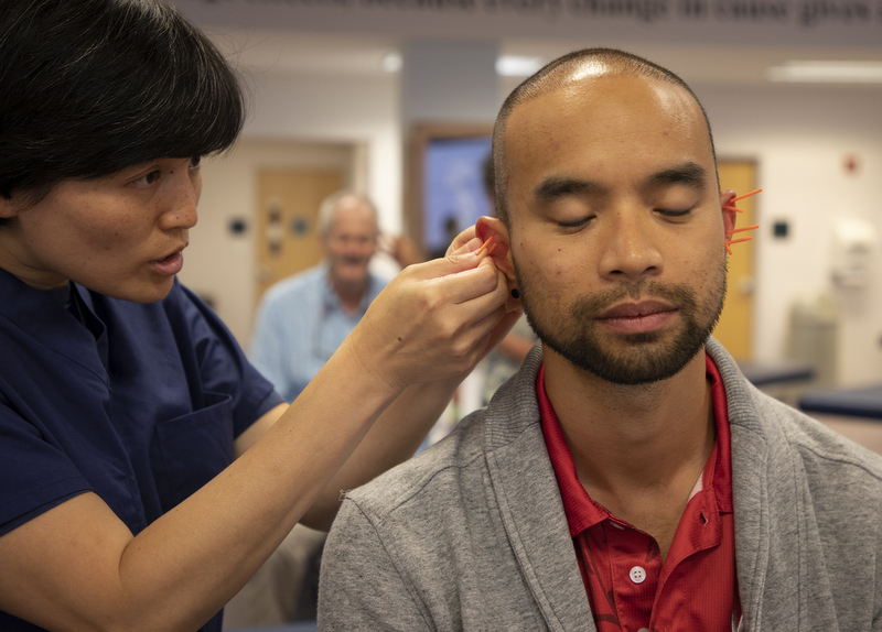 Medical students train in acupuncture at the West Virginia School of Osteopathic Medicine.