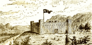 Farmers converse near old Fort Henry at Wheeling, c. 1777.