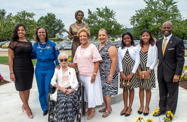 Katherine Johnson and her family attended the dedication of a statue raised in her honor at West Virginia State University.