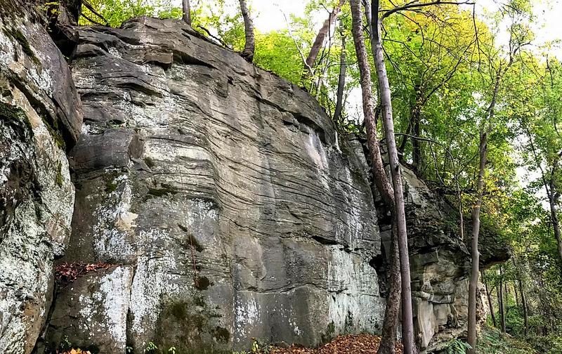 The Kiedaisch Wall climbing area overlooks the Ohio River near New Martinsville, West Virginia.