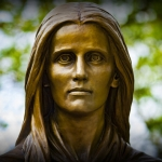 Mary Draper Ingles is immortalized in bronze at Radford, Virginia.