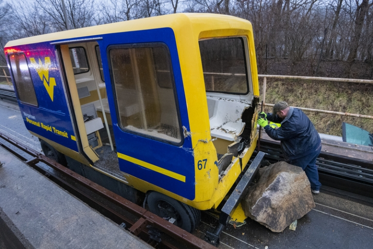 PRT track at WVU closes after Morgantown rockslide