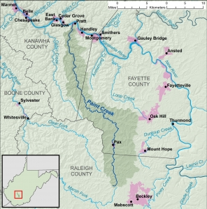 Map showing Paint Creek and its watershed.