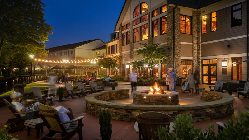 Guests gather on a summer evening at Stonewall Resort.