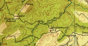 Shades of Death Creek appears on a 1915 map of southern Fayette County, West Virginia.