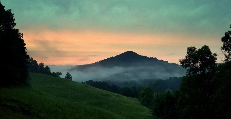 A fog settles in the vale of Granny Creek, as seen from Old Woman Run in Braxton County near Sutton, West Virginia.