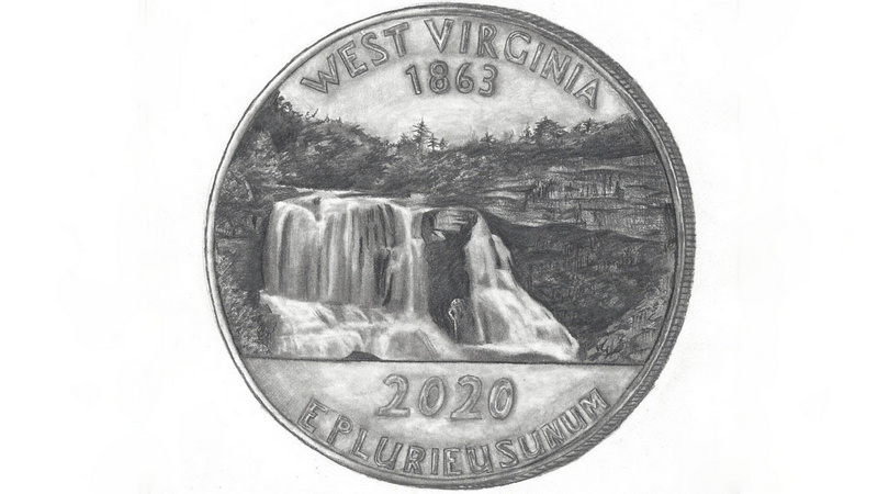 Cabell County, won second place with her representation of Blackwater Falls.