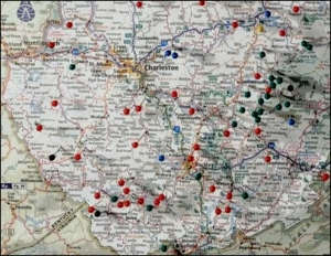 Red pins mark the locations at which bigfoot encounters have been reported to Les O'Dell.
