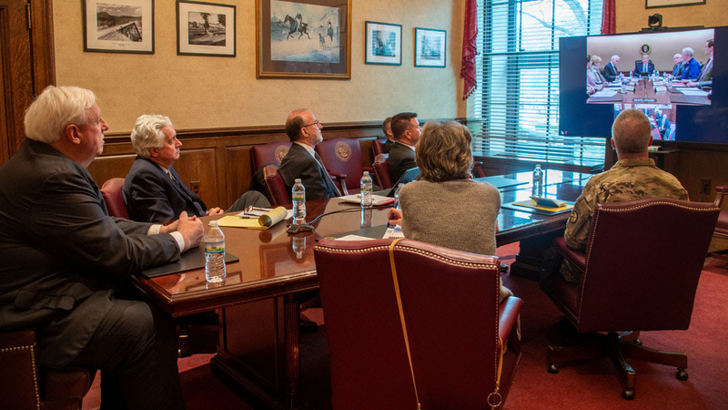The governor and staff attended a video conference with the President early Monday.