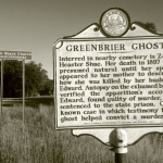 A roadside marker commemorating the Greenbrier Ghost stands along U.S. 60 at Sam Black Church.