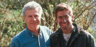"Homer Hickam posed with actor Jake Gyllenhaal during the filming of the 1999 film ""October Sky."""