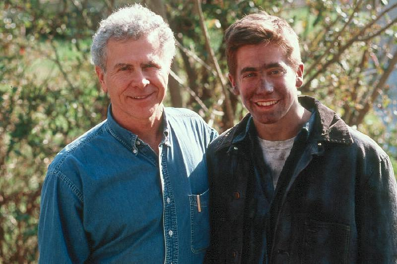 """Homer Hickam posed with actor Jake Gyllenhaal during the filming of the 1999 film """"October Sky."""""""