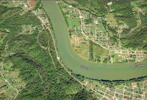 Wooded Sliding Hill extends along a bend in the Ohio River opposite Syracuse, Ohio.
