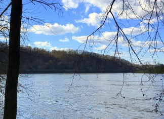 Sliding Hill, in the left distance, rises along the Ohio River in Mason County, West Virginia.