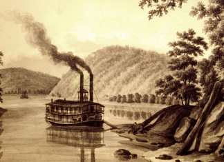 A steamboat docks at Wheeling, then Virginia, in the 1830s.