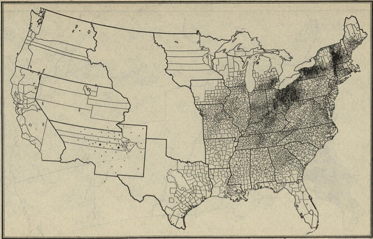 """U.S. Sheep Production 1850, from """"A Brief History of the Sheep Industry in the United States,"""" 1921."""