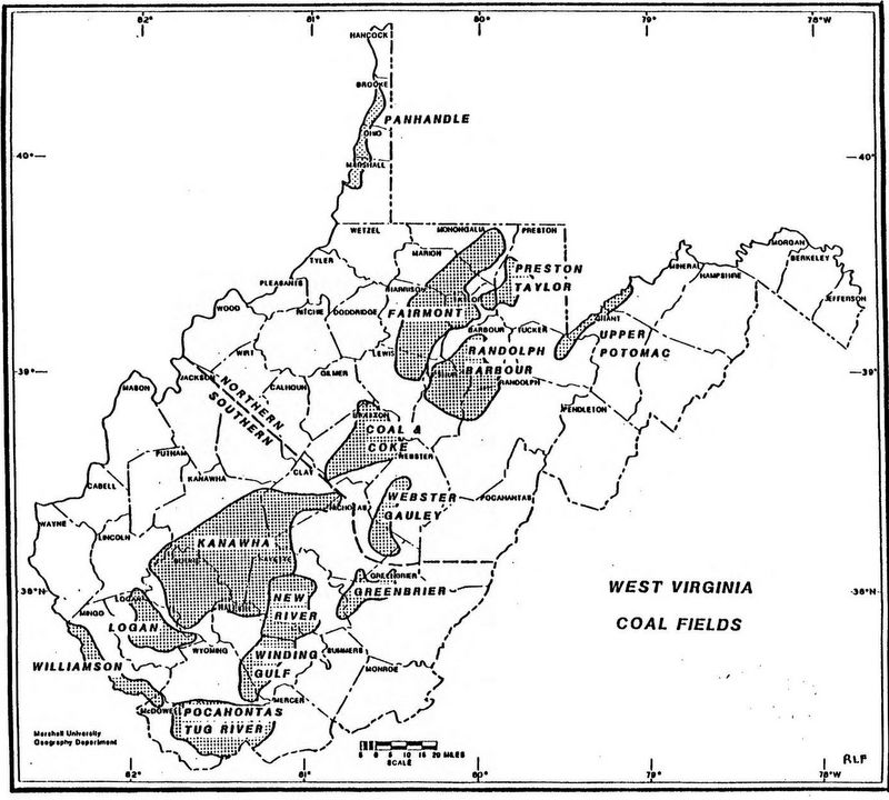 Map of coal fields of northern and southern West Virginia.