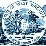 The Great Seal of West Virginia with accompanying illustration of commerce.