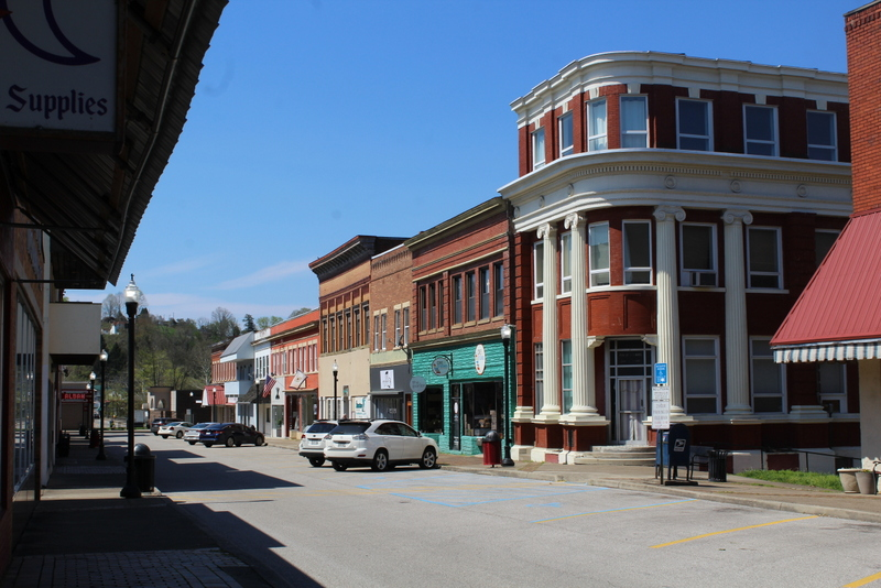 Shops line historic Main Street in Saint Albans, WV (West Virginia), in Kanawha County.