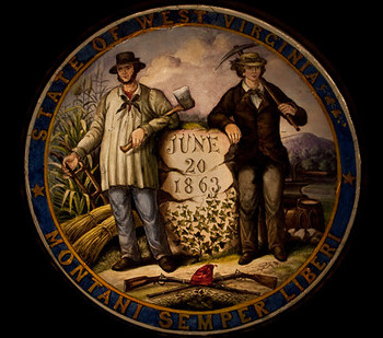 An illustration of the West Virginia Coat of Arms includes elements set for by the state in 1863.