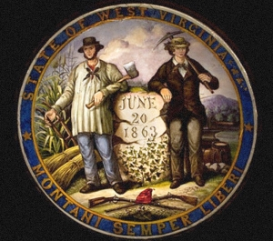 A painting of the obverse of the Great Seal of West Virginia includes variations on many of the original elements.