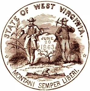 Line illustration of the West Virginia State Seal.