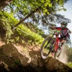 A biker challenges a trail at the Snowshoe Mountain Bike Park.