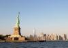 The Statue of Liberty overlooks New York Harbor in New York City.