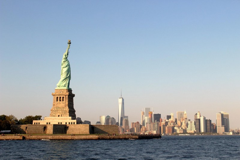 The Statue of Liberty overlooks New York Harbor in New York City.