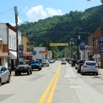 Main Street follows the route of the Elk River through Clay, West Virginia, county seat of Clay County.