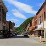 Main Street in Clendenin, West Virginia, looks toward the Elk River.