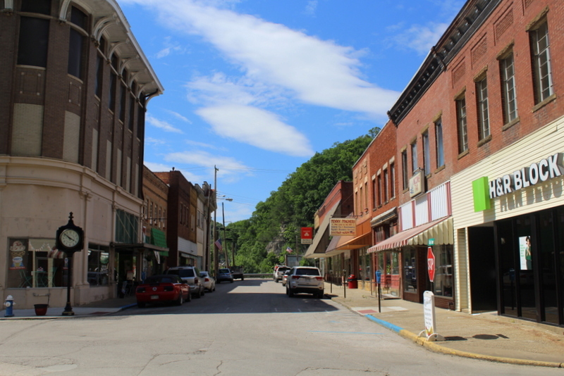 Main Street in Clendenin, West Virginia, looks toward the Elk River.