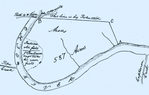 Old fields depicted by George Washington south of Moundsville (Provided by Grave Creek Mound Archaeological Complex, WVDACH)