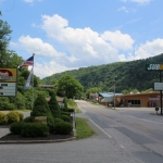 Restaurants line Main Street in the Two Run neighborhood of Clay, West Virginia.