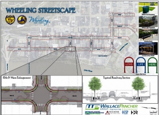Plans call for streetscaping Main and Market streets and adjacent thoroughfares in downtown Wheeling, West Virginia.