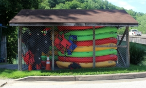 Kayaks await renters in downtown Clendenin.