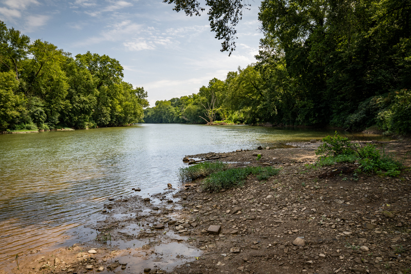 The Elk River flows past Big Chimney eat miles above its mouth at Charleston.