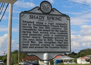 A historical marker along US-19 notes the site of the Shady Spring.