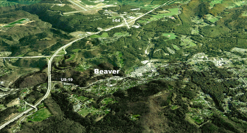 Big Beaver and Little Beaver creeks join behind Beaver Hardware in Beaver, West Virginia (WV).