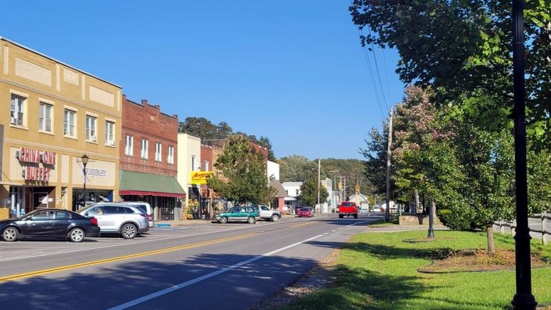 Historic buildings line Main Street in Sophia, West Virginia, in southern Raleigh County.