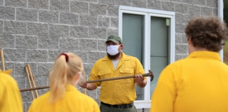W.Va. Division of Forestry Forester Jesse King instructs students.