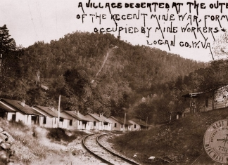 A photo of a deserted coal camp curated by the W.Va. Mine Wars Museum, funded in part by the National Coal Heritage Area Authority.